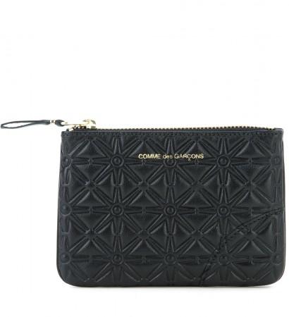 Portafoglio Comme des Garcons wallet in pelle stampata nera