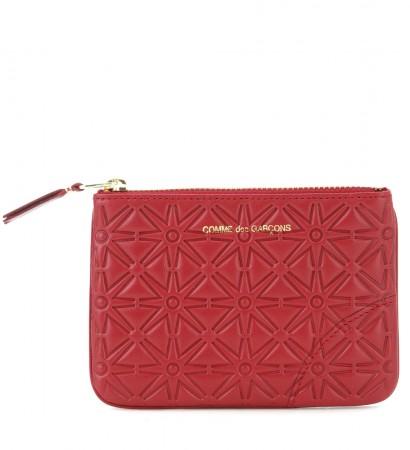 Portafoglio Comme des Garcons wallet in pelle stampata rossa