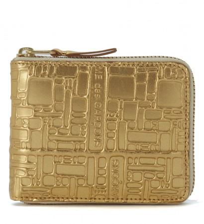 Portafoglio Wallet Comme Des Garçons in pelle oro con stampa