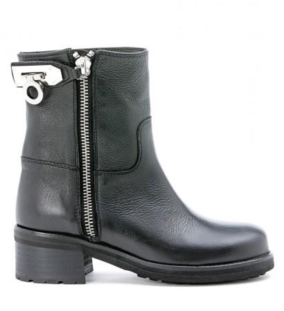 Tronchetto Via Roma 15 in pelle nera bottolata con zip acciaio laterale e lucchetto