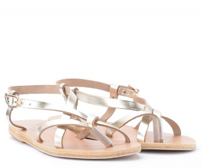 Laterale Sandale Ancient Greek Sandals Semele en cuir platine métallisé