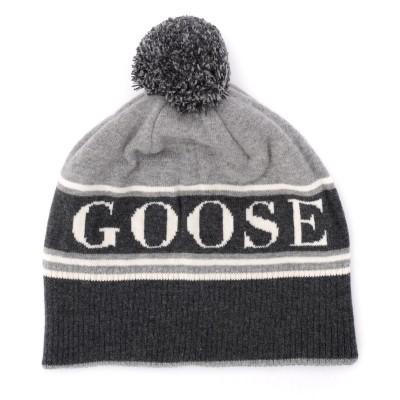 Laterale Cappellino Canada Goose in lana grigia con pompom