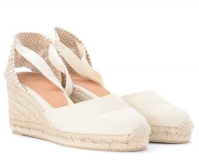 Laterale Sandale avec semelle compensée Castañer Carina ivoire