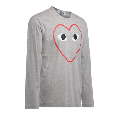 Laterale T-Shirt Comme Des Garçons PLAY manica lunga grigia con stampa cuore vuoto