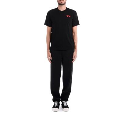 Laterale T-Shirt Comme Des Garçons PLAY en coton noir à double cœur