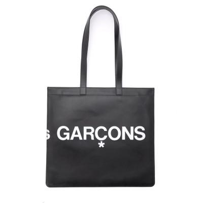 Laterale Borsa Shopping Comme Des Garçons Wallet Huge Logo in pelle nera