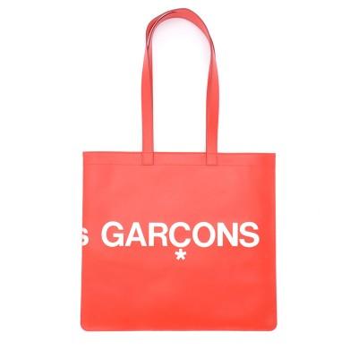 Laterale Shopper Comme Des Garçons Wallet Huge Logo en cuir rouge