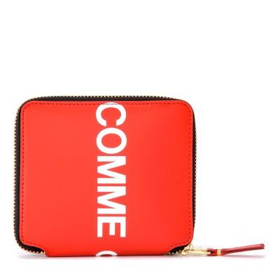 Laterale Portefeuille Comme Des Garçons Wallet Huge Logo en cuir rouge