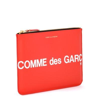 Laterale Bustina Comme Des Garçons Wallet Huge Logo in pelle color rosso