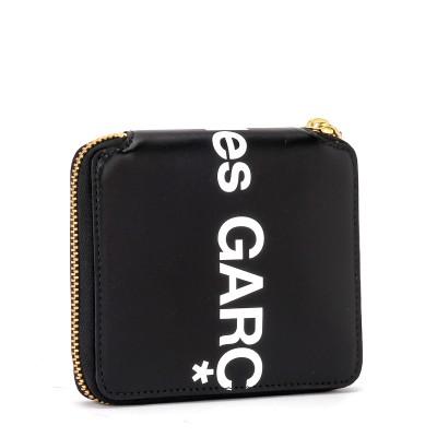 Laterale Portefeuille Comme Des Garçons Wallet Huge Logo en cuir noir