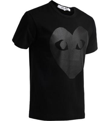 Laterale T-shirt Comme des Garçons Play au col rond noir, avec coeur imprimé