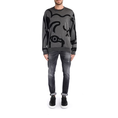 Laterale Pull pour homme Kenzo K-Tiger gris