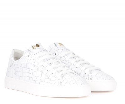 Laterale Baskets Hide&Jack Tuscany Croco cuir blanc pour hommes