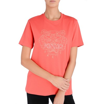 Laterale T-shirt over Kenzo Tigre couleur framboise