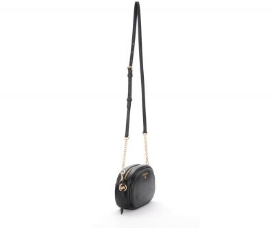 Laterale Sac porté épaule Michael Kors Oval en cuir noir