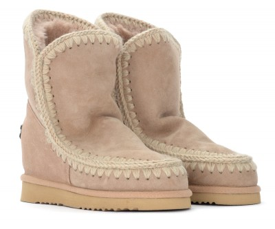 Laterale Boots Mou Eskimo Inner Wedge Short couleur camel