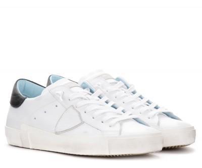 Laterale Baskets pour hommes Philippe Model Paris X en cuir blanc
