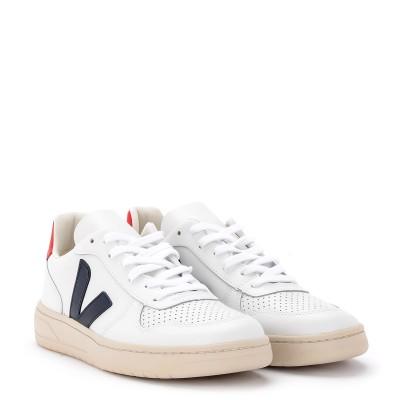 Laterale Baskets Veja V-10 cuir blanc, bleu et rouge pour les femmes