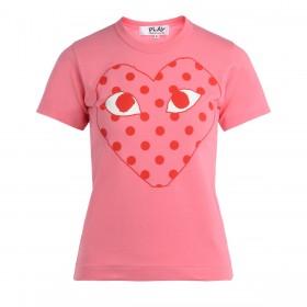 T-Shirt pour femme Comme Des Garçons Play rose avec un cœur à pois rouge