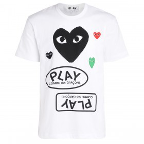 T-Shirt pour hommes Comme Des Garçons PLAY en blanc avec coeur noir et logos