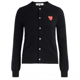 Cardigan Comme Des Garçons PLAY noir avec des cœurs superposés