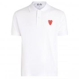 Polo Comme Des Garçons PLAY en coton blanc avec cœurs superposés