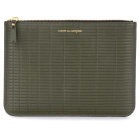 Pochette Comme Des Garçons Wallet Brick Line en cuir couleur kaki