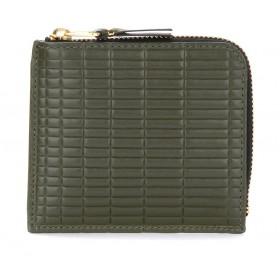 Portefeuille Comme Des Garçons Wallet Brick Line en cuir couleur kaki