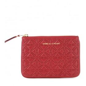 Pochette Comme des Garçons wallet en cuir imprimé rouge