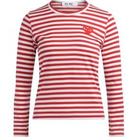 T-shirt Comme des Garçons Play avec un col ras du cou rayé blanc et rouge