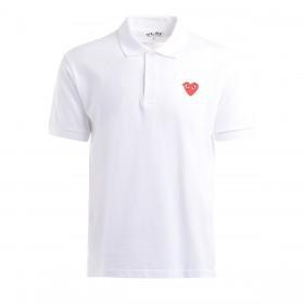 Polo Comme Des Garcons PLAY blanc avec un cœur rouge