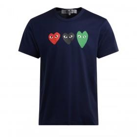 T-Shirt Comme Des Garçons PLAY bleu en coton avec des coeurs multicolores