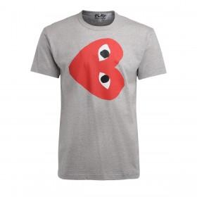T-Shirt homme Comme Des Garçons PLAY gris avec un coeur rouge horizontal