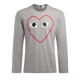 T-Shirt homme Comme Des Garçons PLAY gris à manches longues avec impression de coeur vide