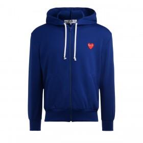 Sweatshirt Comme Des Garçons PLAY bleu avec un coeur rouge