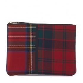 Sac à enveloppe Comme des Garçons Wallet en laine tartan patchwork rouge