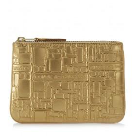 Pochette Wallet Comme des Garçons en cuir or imprimée