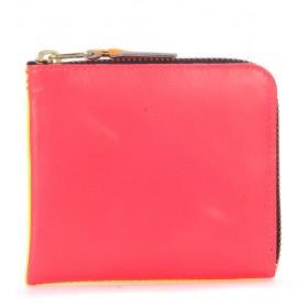 Portefeuille Comme Des Garçons Wallet en cuir rose et jaune fluo