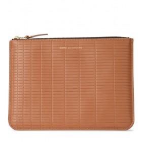 Pochette Comme Des Garçons Wallet Brick Line en peau couleur cuir