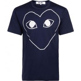 T-Shirt Comme Des Garçons PLAY à col rond bleu avec coeur blanc