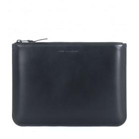 Portefeuille Comme des Garçons Wallet à pochette en cuir de veau noir