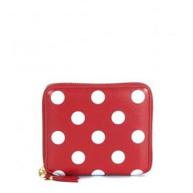 Portefeuille Comme Des Garçons Wallet en cuir rouge pointillé en blanc