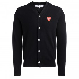 Cardigan Comme Des Garçons PLAY noir avec coeurs superposés