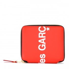 Portefeuille Comme Des Garçons Wallet Huge Logo en cuir rouge