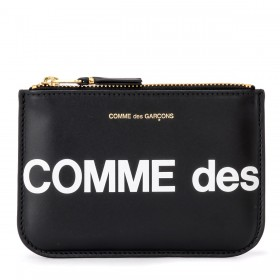 Pochette Comme Des Garçons Wallet Huge Logo en cuir noir