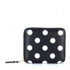 Portefeuille Comme Des Garçons Wallet en cuir noir pointillé blanc
