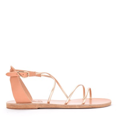 Sandalo Ancient Greek Sandals Meloivia in pelle platino