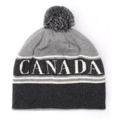 Cappellino Canada Goose in lana grigia con pompom