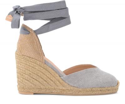 Sandalo con zeppa Castañer Chiara in tela e tessuto grigio