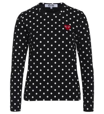T-shirt Play by Comme des Garçons noire avec pois blancs